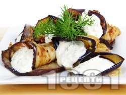 Печени патладжани на рулца пълнени със сирене крема, майонеза, чесън и копър - снимка на рецептата